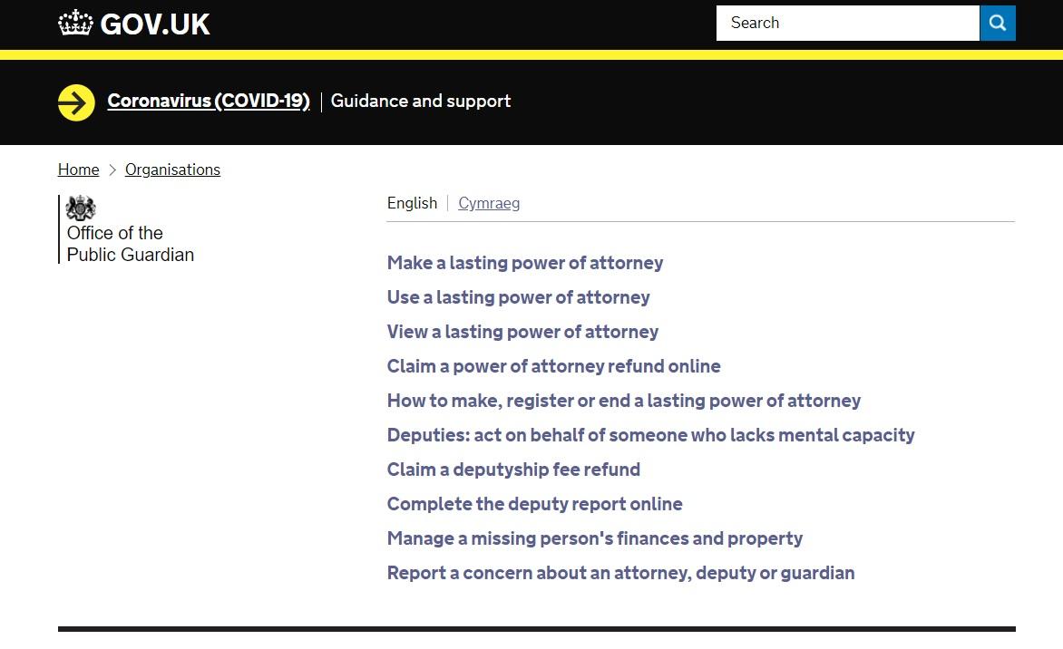 Gov.uk website - lasting power of attorney online service